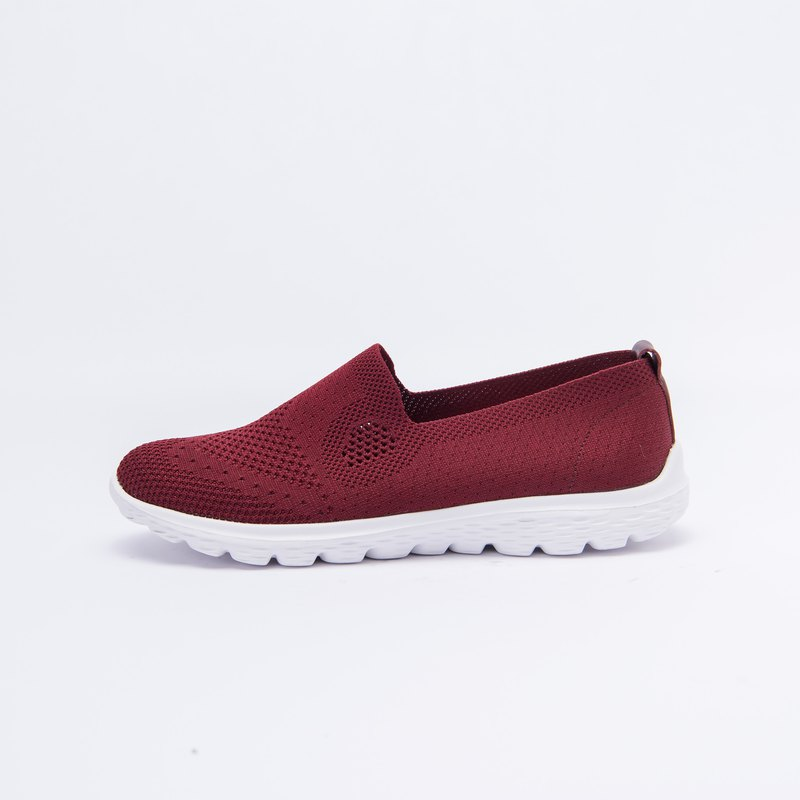 Large size women's shoes 41-45 made in Taiwan breathable mesh super lightweight casual shoes 3cm dark red