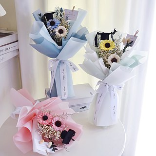 WANYI Graduation Cotton Bouquet Dry Flower / Eternal Flower / Gift / Mother's Day / Gift