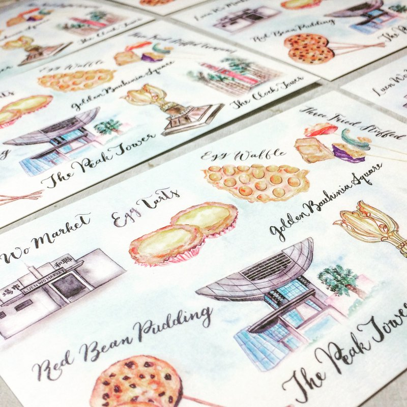 Hong Kong local food & places, Watercolor postcard, Watercolor Prints