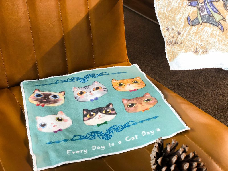 Tmall cat day (green) / 100% cotton delicate small square handkerchief * super cute six-color cat