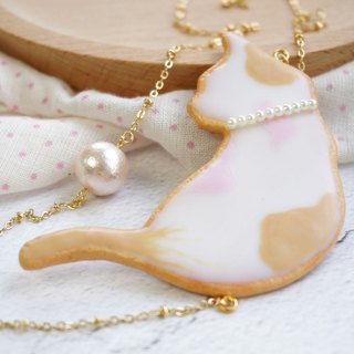 |Little White Cat Cookie|Handmade Polymer Clay Pearl Brass Necklace