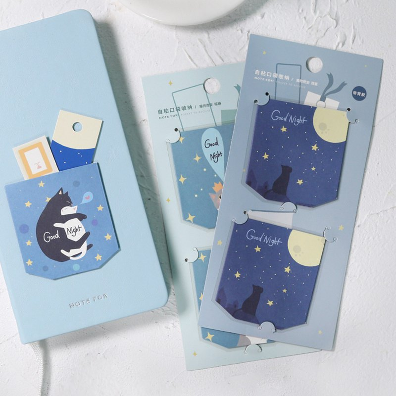NOTE FOR Self-adhesive pocket storage <cat's good night> PDA function cute and fresh 喵 portable stationery