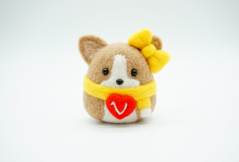 New Year Valentine's Day Gift Corgi Baby Wool Felt Customized Letters Desktop Decoration Key Ring Pin