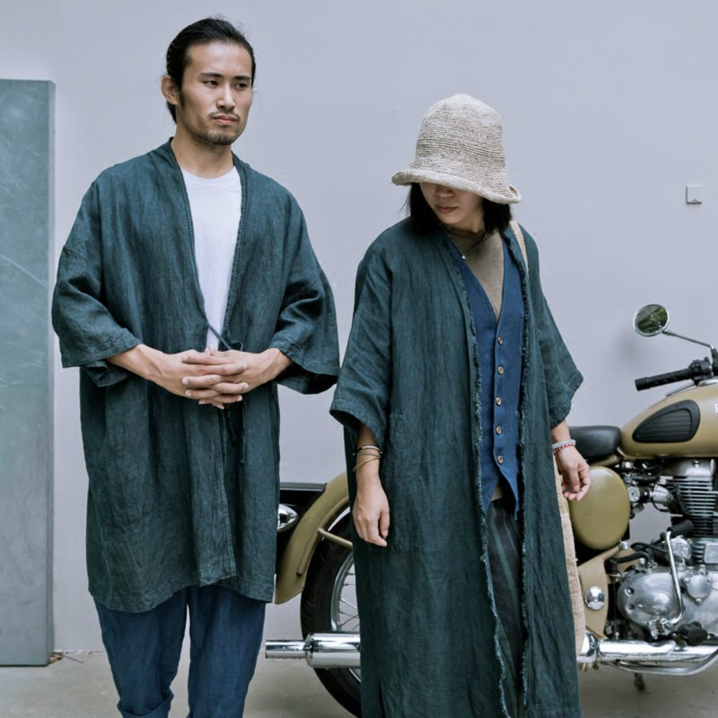 Inclusive | Indigo green plant dyed 100% Hanma robes hand-dyed raw long coat