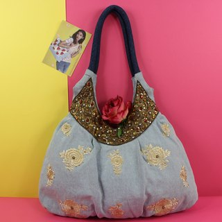Golden Moments Denim Embroidery Shoulder Bag