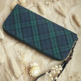 Classic Green Scottish Check. Cloth clip / wallet / wallet / purse