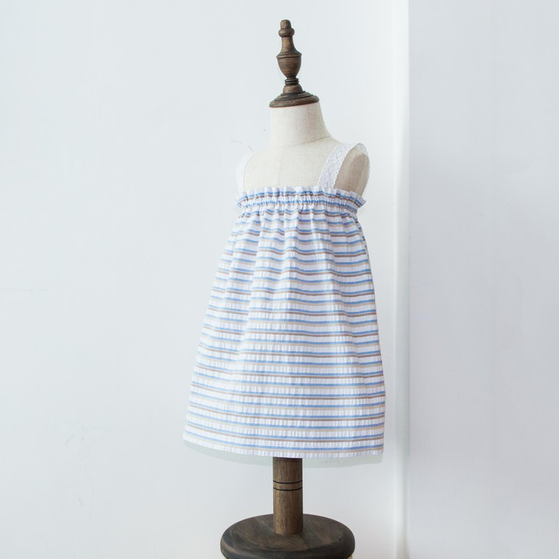 Baby Blue Striped Kids Dress