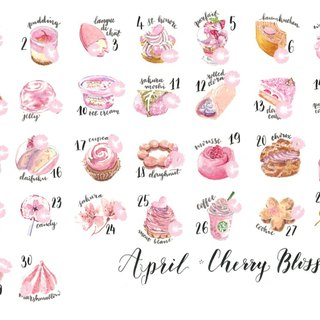 Sticker Set - Cherry Blossom Desserts (30 pieces)