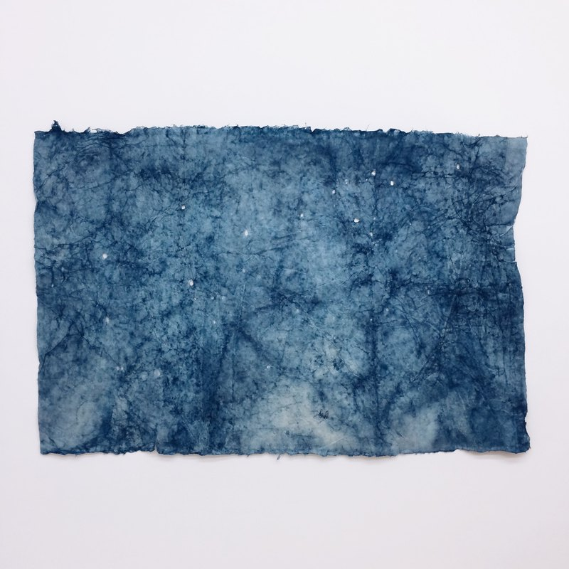 Blue dyed and paper