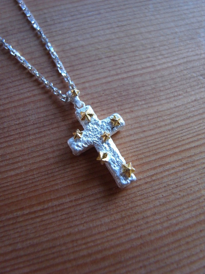 Cross with Star Silver Necklace