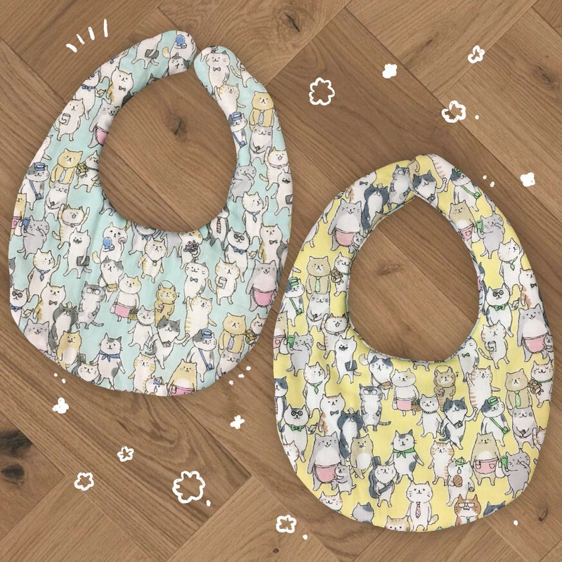The world of cats / double-sided hand made bib pocket
