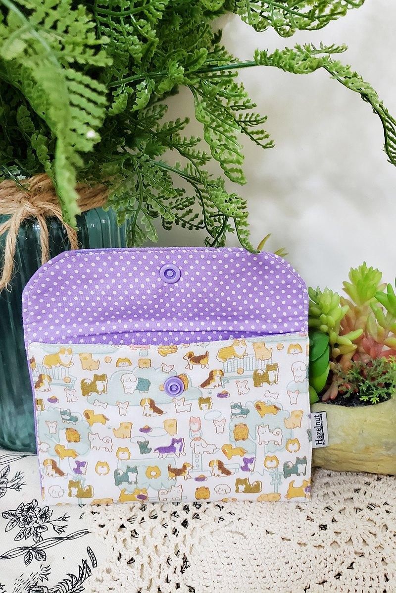 可愛小狗紫色波點圖案小收納袋/小卡片包/小物包//零錢包