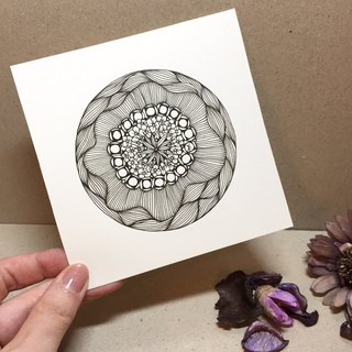 Square Coloring Card in Tangles Art/ Flora