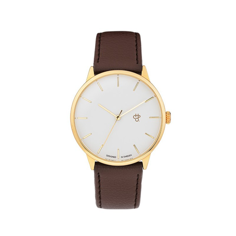 Chop Brand Swedish brand - Khorshid series gold white dial brown leather watch