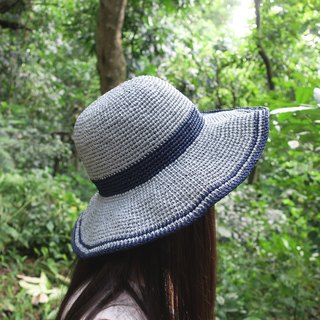 A mother's hand made cap - summer straw hat - striped big round hat / dark blue stripes and light gray / design limited edition