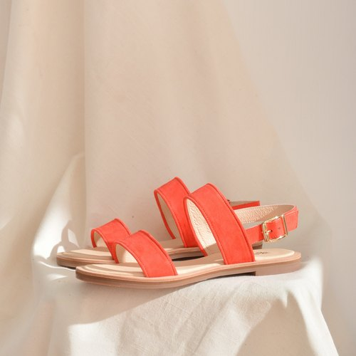 Leather Sandals | Tangerine