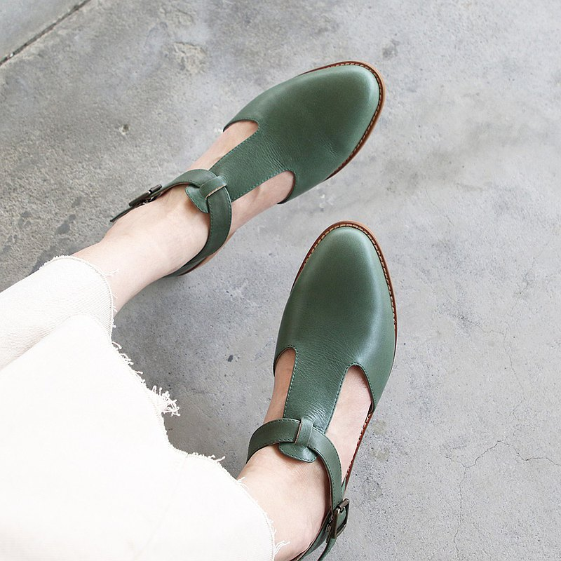 [Handmade] T-shaped plain leather Oxford shoes_dark green