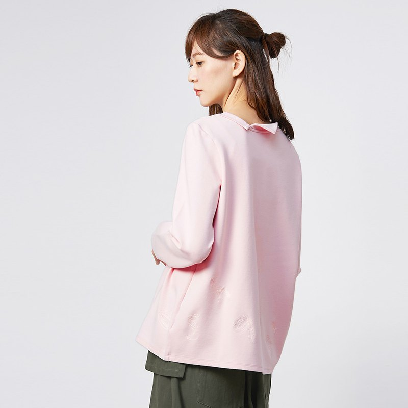 a la sha + a Low-key Suixing Logo Embroidered Long Sleeve Top