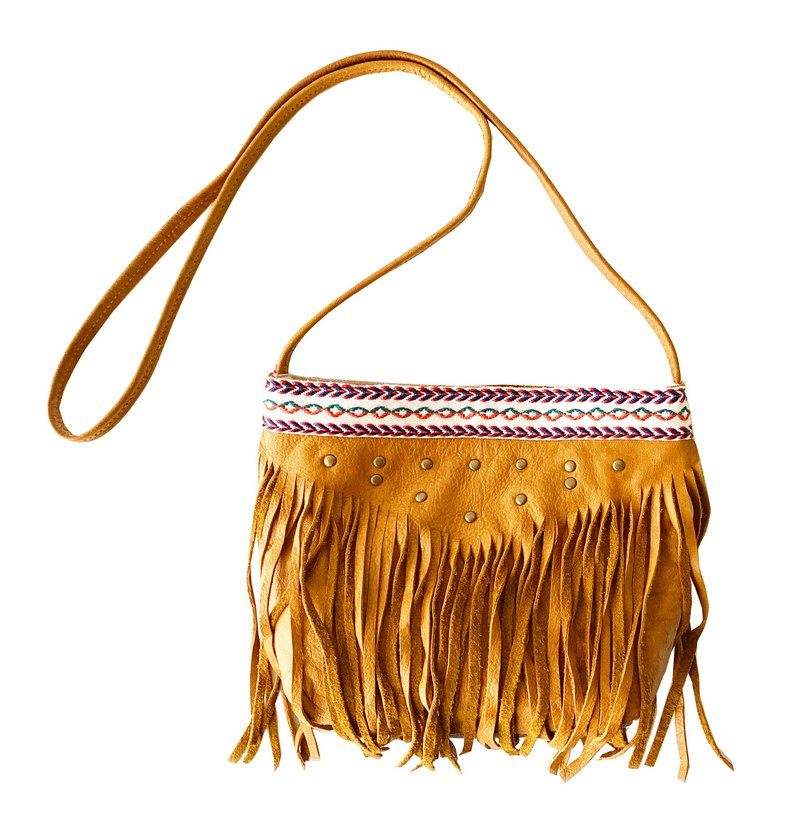 Mingen Handiwork summer travel travel full leather tassel small shoulder bag PB19003