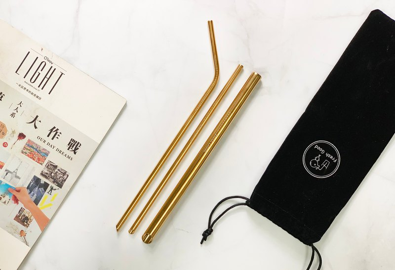 L316 stainless steel straw ( Classical gold ) 4 in 1
