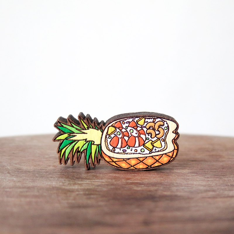 Wooden Brooch Thai Food ~ Pineapple Fried Rice