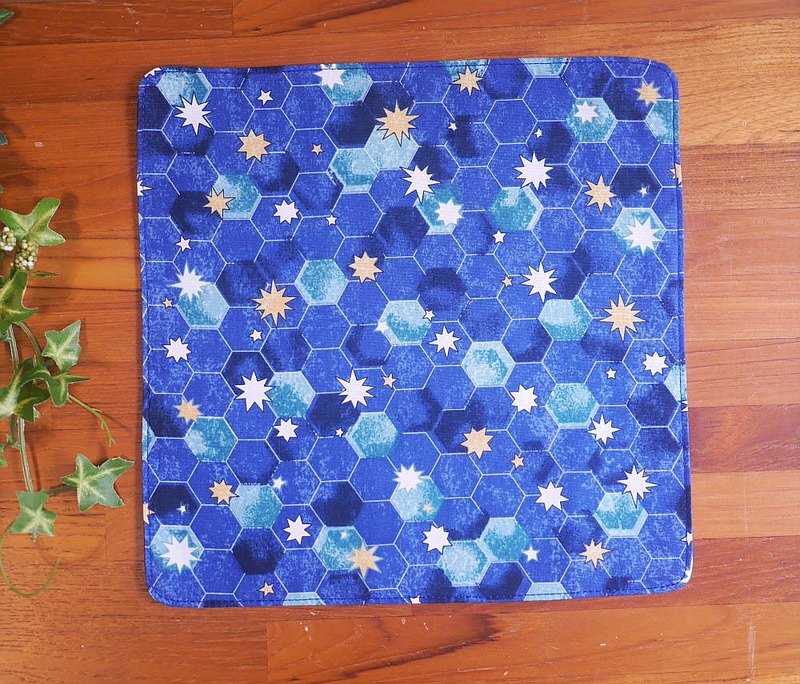 Taiwan Pure Cotton Handkerchief = Hexagon Star = Blue