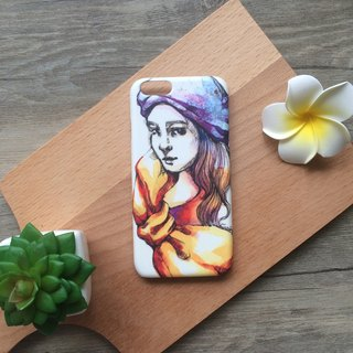 Romance Modern Girl wearing a purple hat illustration. Matte Case (iPhone, HTC, Samsung, Sony)