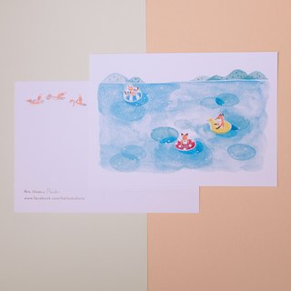 Fox under the water fun postcards