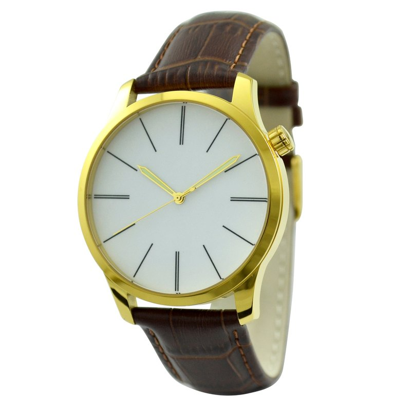 Minimalist Watch with Long Stripe (Big) Gold - Free shipping