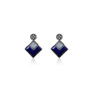 Square Shape Topaz And Lapis Diamond Earring
