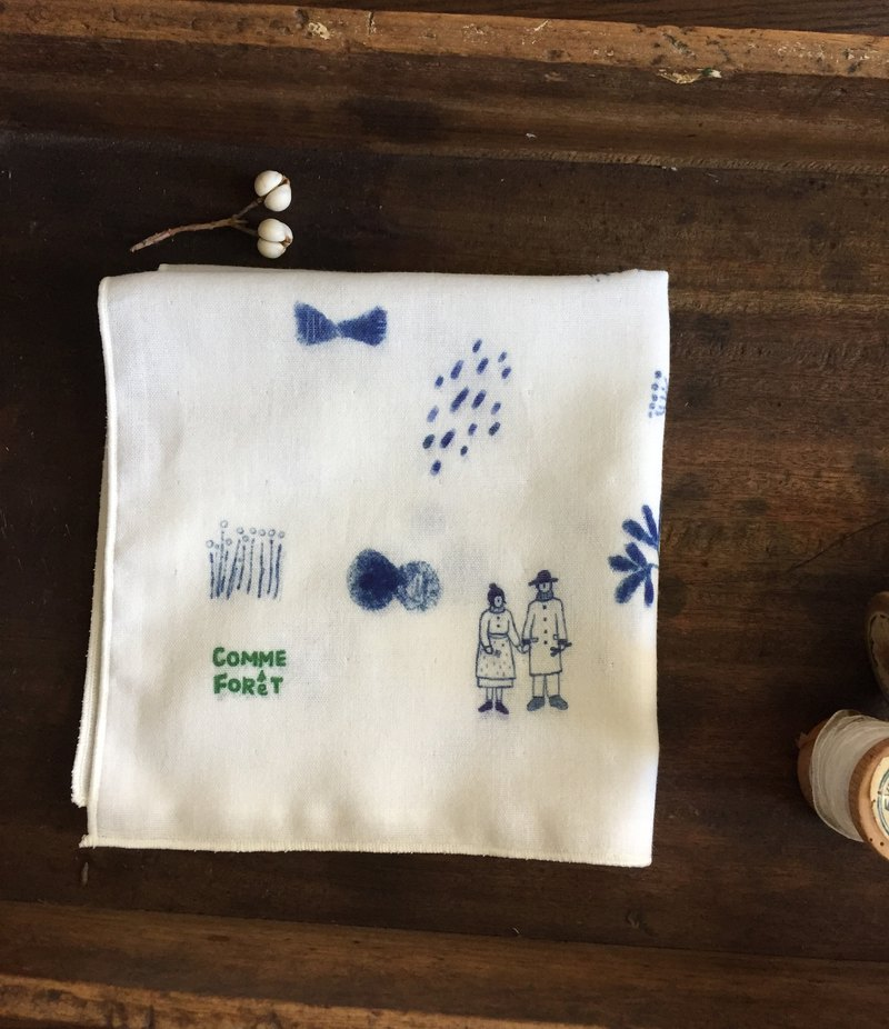 Illustration series / small hidden life / double yarn handkerchief 100% cotton
