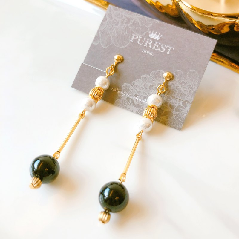 PUREST HOME Black Agate の Japanese Cotton Pearl - Draped Brass Earrings