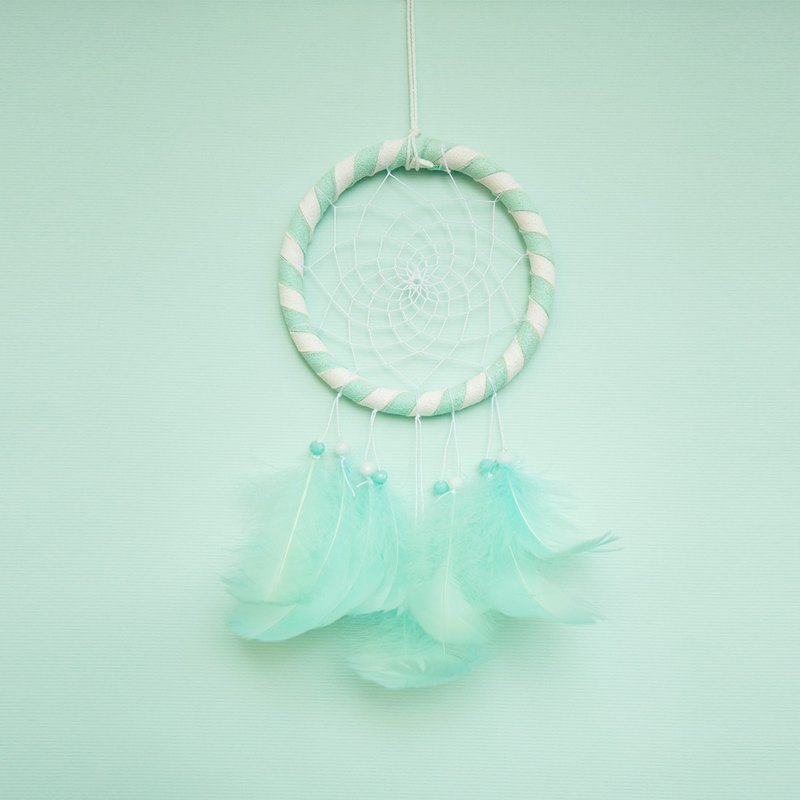 Mint candy color (white + mint green)-Dream catcher 10cm-Valentine's Day gift
