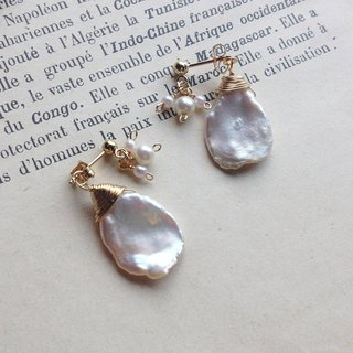 14 kgf fresh water Keshi Pearl × vintage pearl back catch earrings OR ear clip