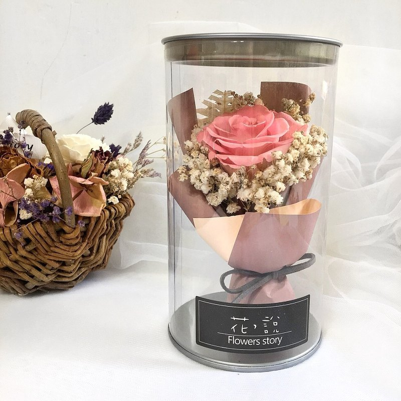 Peach pink immortal rose bottle flower - with box