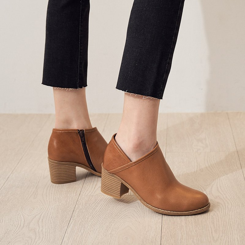 Circle office thick heel ankle boots-canoe