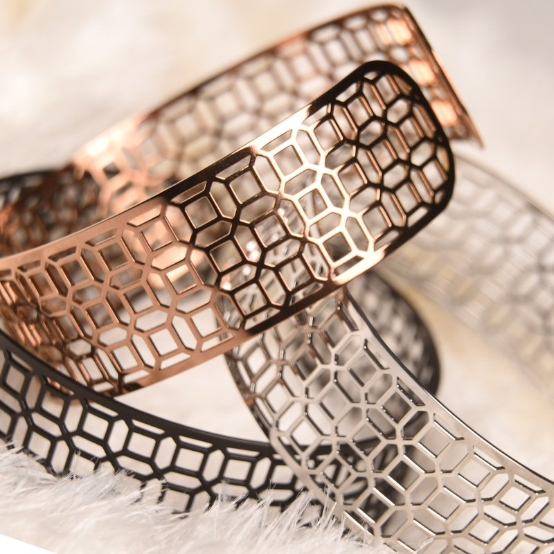 Thin steel adjustable C-ring - window flower rich rich wide version thin steel bracelet silver / rose gold / fog black