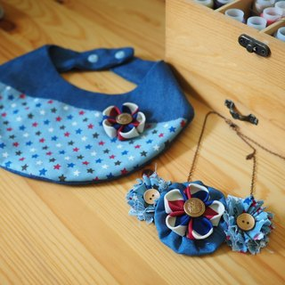 Handmade Baby Bib and corsage/ hair clip set