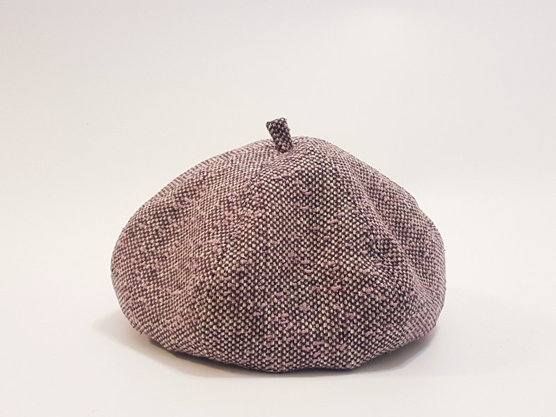 Wenqing Fashion Pumpkin Hat - Mixed Color Weaving (Balm + White + Dark Coffee + Pink Purple) #画家帽#贝蕾帽
