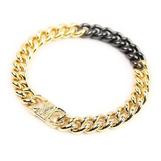 """M"" Tag Metal Bracelet radiation M word square plate color metal bracelet (gold and silver)"