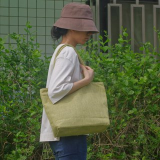 Absolute value-----Classic tote bag linen yellow green
