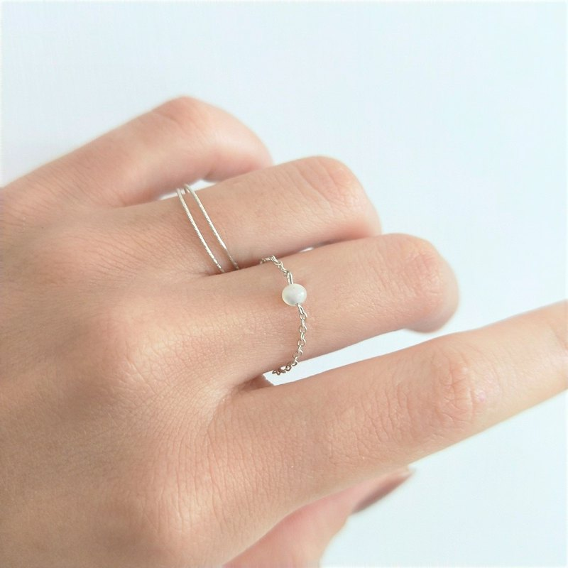 │Light luxury │ natural stone • Chain ring • Sterling silver ring • Single