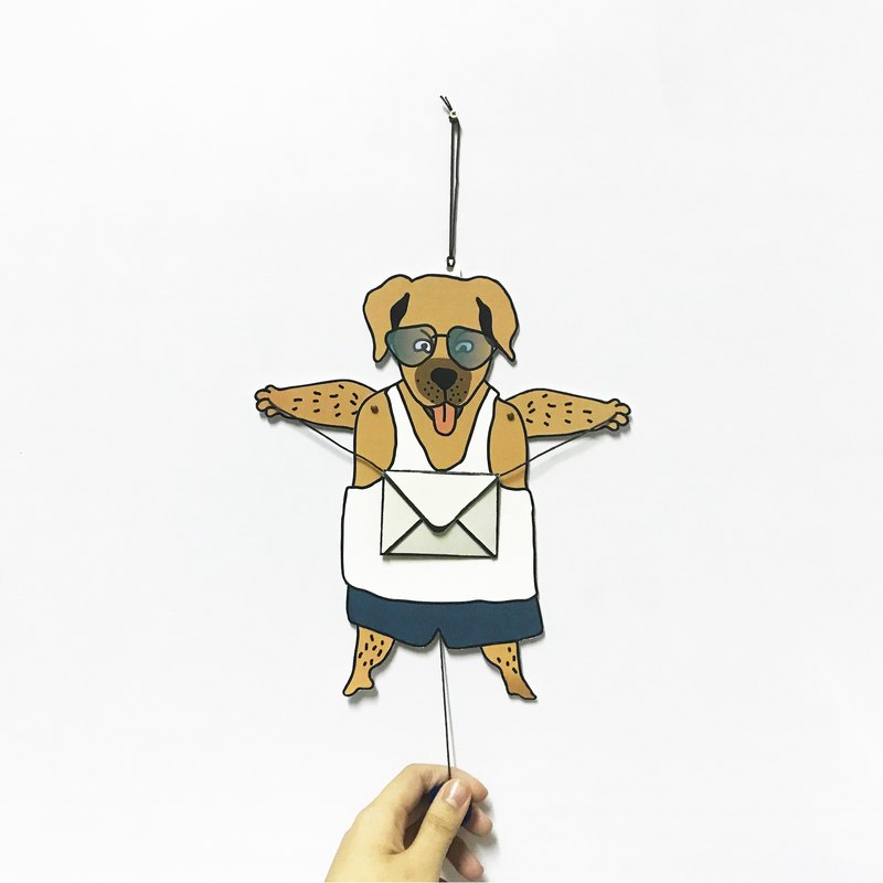 Single Dog, paper puppet card