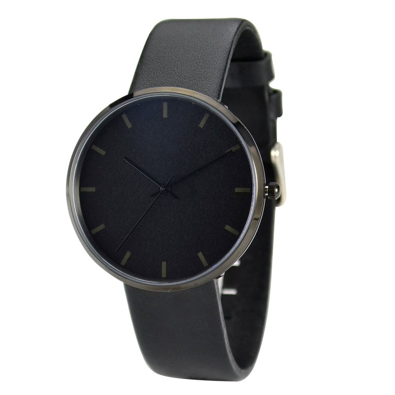 Nameless Minimalist Watch Faintly Discernible Stripes Black Case