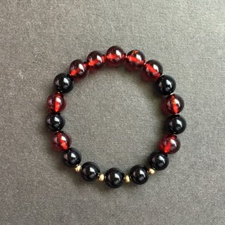 [嫣红] high quality garnet black tourmaline brass bracelet