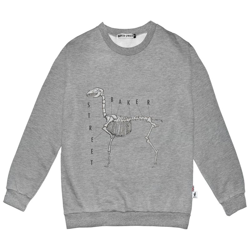 British Fashion Brand -Baker Street- Alpaca Bone Printed Sweatshirt