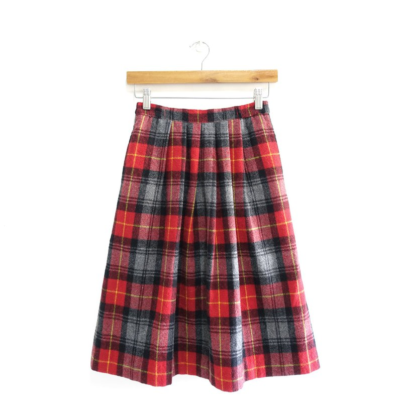 │Slowly│Christmas Plaid 3-Vintage Wool Skirt│vintage.Retro.Literature