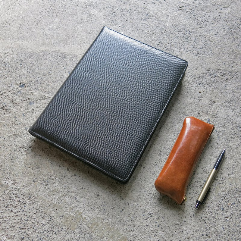 Cross-grain leather zipper notebook - business quality preferred limited release [LBT Pro]
