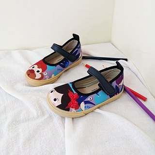 Illustration doll shoes - purple / elegant white snow children's shoes