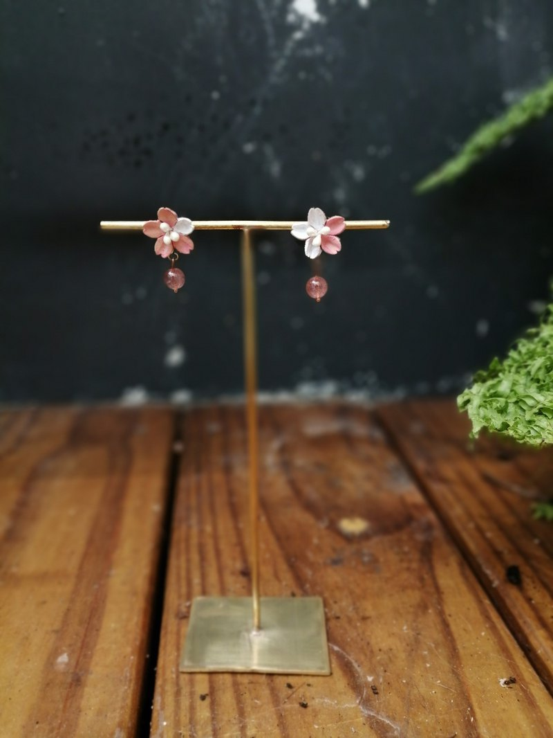 Leather Cherry Blossom Strawberry Crystal Earrings